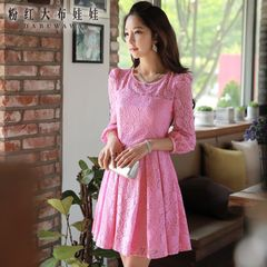 Autumn dress big pink doll 2015 new pink slim waist pleated long sleeve lace dress