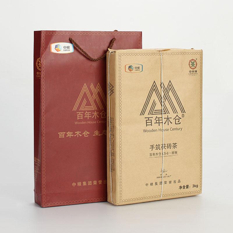 中茶百年木仓 湖南安化黑茶 茯砖茶 收藏版 金花手筑茯砖3kg
