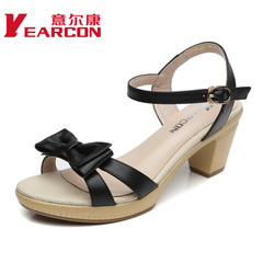 YEARCON/er Kang shoes new 2015 summer real commuter chunky heels bow peep-toe shoes women sandals