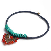 Original national wind Thailand wind jewelry red carnelian turquoise short amount of clavicular necklace women 2700343