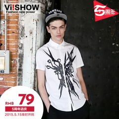 Viishow2015 summer dresses men's casual prints fantasy art print shirt short sleeve shirt with short sleeves