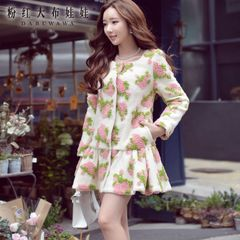 Fall/winter jacket pink doll dress 2015 surge in jacquard and put long casual wool coats