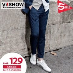 Viishow mens new casual Pant men's straight leg pants casual Plaid trousers tide