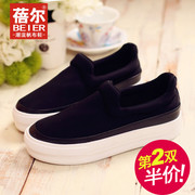 Le Fu, Becky, thick-soled casual shoes women's shoes shoes canvas shoes women solid color student shoes platform shoes-fall 2015 new