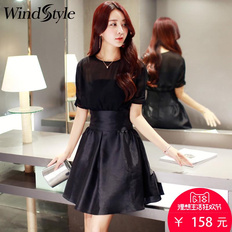 雪纺连衣裙2017夏季新款韩版收腰显瘦假两件中长款气质裙子女性感