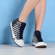 Spring 2015 Korean fashion casual Hi-canvas platform versatile casual shoes spell stripes stars canvas shoes