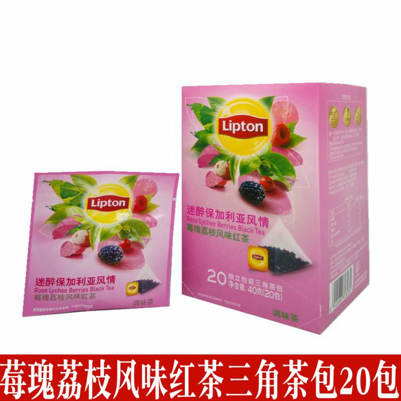 包邮立顿红茶水果茶三角茶包莓瑰荔枝风味红茶袋泡茶独立包装20包