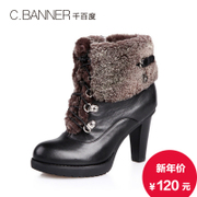 C.banner/banner autumn/winter women's boots leather high heel boots with round head A3561428