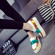 Lok Fu shoes 2016 new Europe and thick-soled platform shoes low tide student leisure shoes women mixed colors