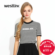 Westlink/West fall 2015 striped Turtleneck set head new letters slim short sleeve women's Sweatshirts