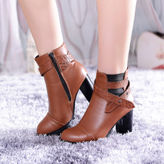 2015 new heavy boots with Europe and a round-headed and bare for fall/winter boots belt buckle zipper short boots ultra high heel fashion boots