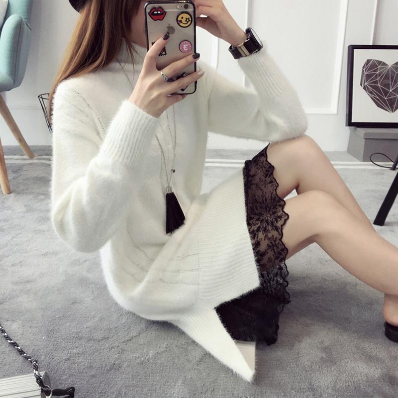 中长款白色高领毛衣裙女宽松秋冬季外套针织连衣裙套头