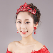 Good beauty bridal tiara red wedding wedding Crown hair accessory jewelry yellow candle folk style qipao frontlet