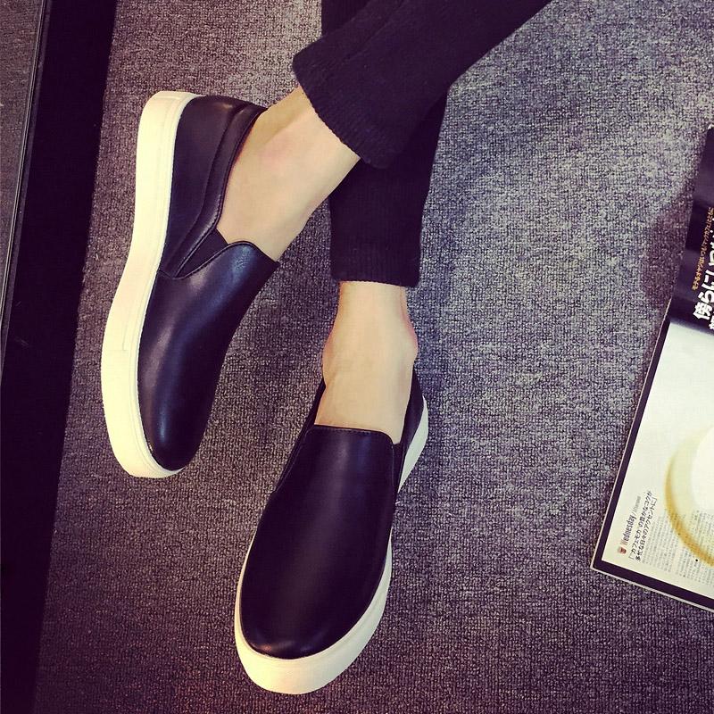 秋季男士乐福鞋一脚蹬休闲鞋男鞋子豆豆鞋冬季皮鞋懒人蹬黑白潮鞋