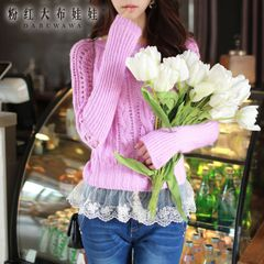 Sweater girls big pink doll 2015 coarse knit Korean autumn new products women's knit sweater Turtleneck