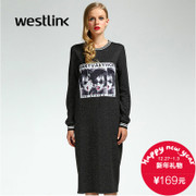 Westlink/West 2015 winter new style portrait printed crew neck long sleeve t-shirt straight long dress