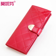 2015 new authentic bag Candy-colored female Korean fashion ladies wallet purse wave rhombic cattle wallet large zip around wallet