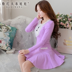 Long sleeve dress pink doll 2015 autumn new ladies slim pleated skirt sweater dress