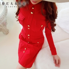 A-dress big pink doll 2015 Couture autumn new patch Pocket waist long sleeve red dress