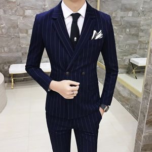 Men's Casual Suit Set British Style Korean Slim Stripe Double Breasted Small Suit Groom Dress Men's Tide