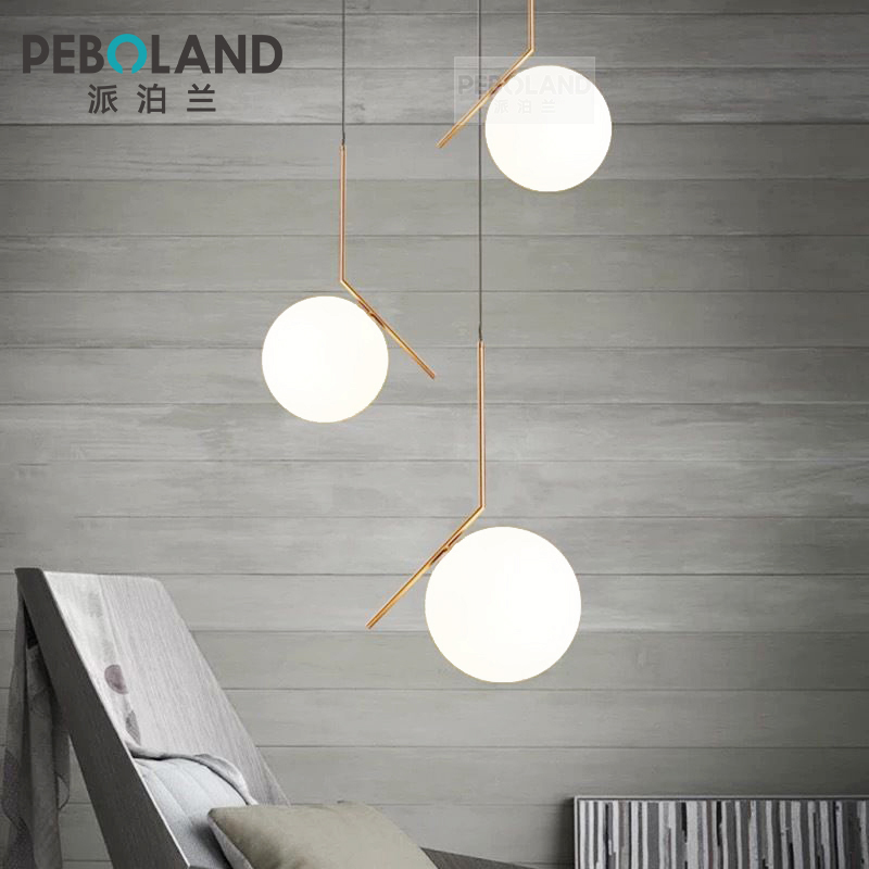 北欧吊灯单头现代简约三头客厅卧室床头玻璃圆球灯具后现代小吊灯