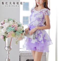 Organza dress with a big pink doll 2015 new wave slim short sleeve suits pettiskirt dresses