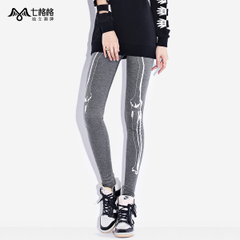 Seven Princess wind OTHERMIX punk skull print foot grey Slim pants wearing footless tights
