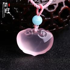 佰旺粉晶如意平安锁吊坠粉水晶项坠女冰种促姻缘粉水晶饰品项链