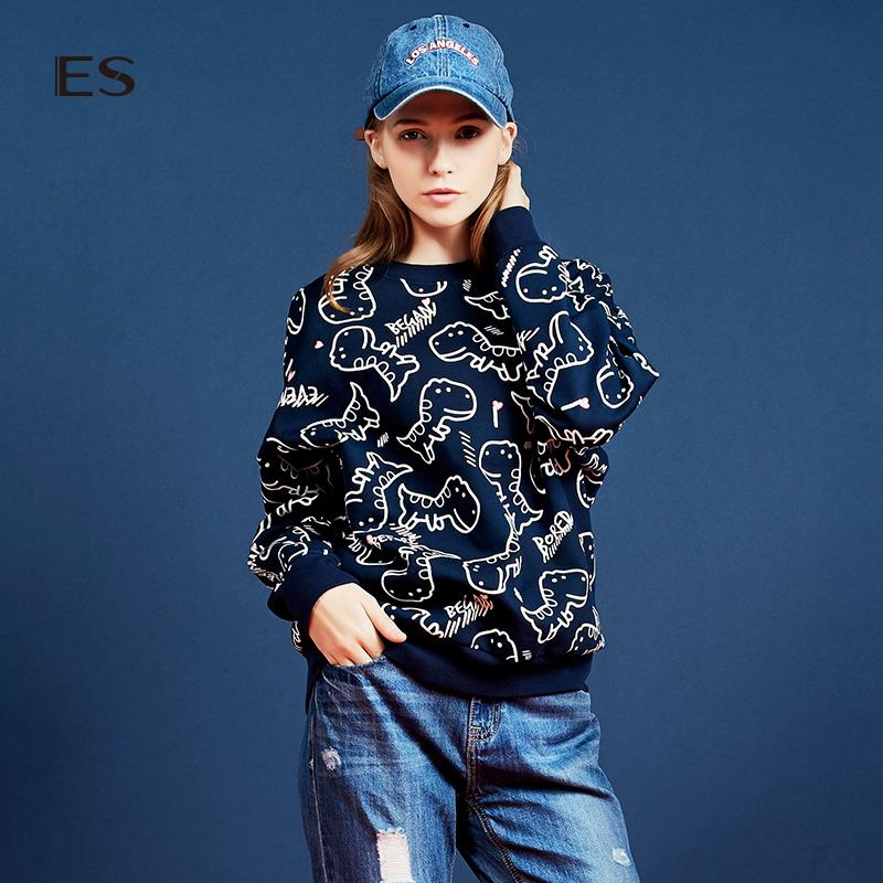 艾格 ES 2016 冬新品可爱恐龙套头卫衣160328726