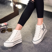 2015 summer white platform high side zip sneakers women increased in the Korean version of leisure star high school wave