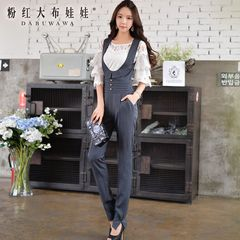 Jumpsuit women's pink doll 2015 autumn new style high waist trousers lapel sleeveless jumpsuit