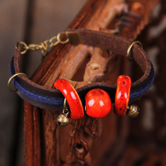 New ceramic bracelet Red Stone matching leather bracelets hand made ceramic jewelry couple bracelets