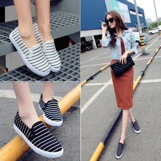 Lok Fu c spring shoes shoes, thick-soled platform casual canvas shoes low cut stripe sets foot shoes