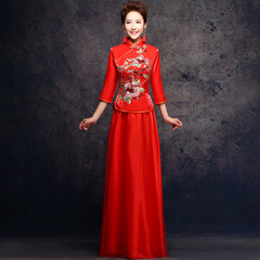 2015 new spring and autumn red spring bride toast costume qipao Chinese bridal fashion wedding dresses wedding dress long bi-fold wallets