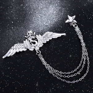 Men's Brooch Corsage Korea High-end Suit Badge Angel Wings Chain Pin Buckle Collar Pin Female Retro Badge