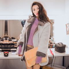QUEENZZ Europe and the socialite winds fall/winter 2014 new guys who bring waist strap lambs wool warm coat #