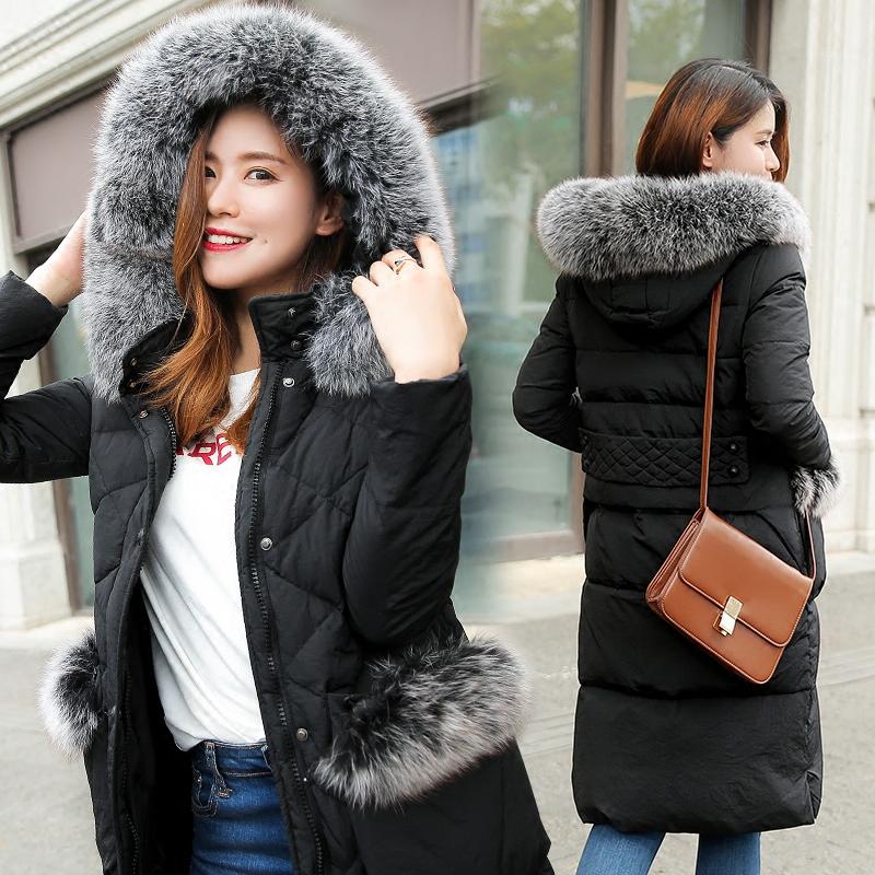 韩版2017新款真狐狸大毛领中长款羽绒服女长过膝修身加厚加长外套