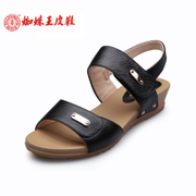 Spider King classic fashion pieces female Velcro sandal wedges shoes low heel leather women shoes