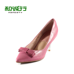 He Chenghang and down 2015 spring fine ladies fixtures shoes Sheepskin workplace commutes with high heels shoes 0010504