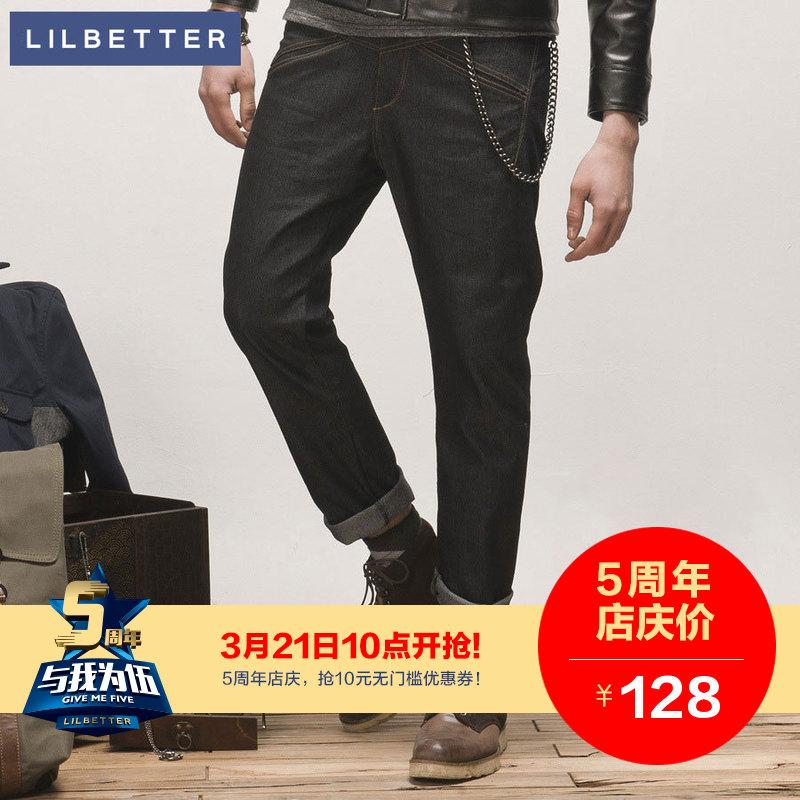 lilbetter牛仔裤男水洗原色男士休闲直筒牛仔裤男式长裤子潮男