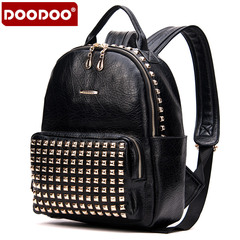 Doodoo leisure rivet backpack girl Korean version flows Institute wind washed Pu leather woman bag backpack bag