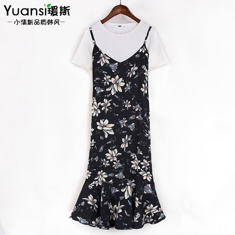 连衣裙女2017夏季短袖套装韩版小碎花雪纺吊带中长