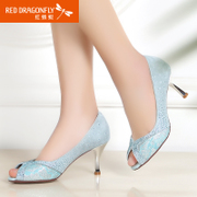 Red Dragonfly new genuine leather peep toes 2015 spring fashion Sheepskin sexy high heel wedding shoes