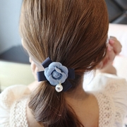 Cool na Korean hair accessories like cowboy fabric flower Pearl bow hair tie-rope hair band 6086