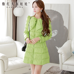 Winter women's down jacket pink doll set 2014 Green bow Han Fanzhong long down jacket