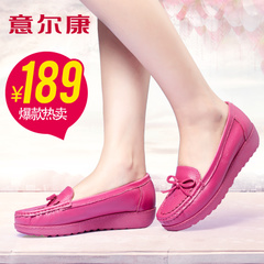 Erkang new genuine leather shoes spring summer fashion bows comfortable bean shoes women's shoes