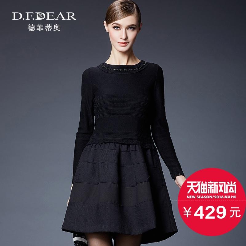品牌女装春秋韩版长袖拼接修身针织连衣裙