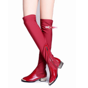 Love of the strange metal tipped boot flat over the knee boots with long boots women's red leather wedding shoes stretch boots