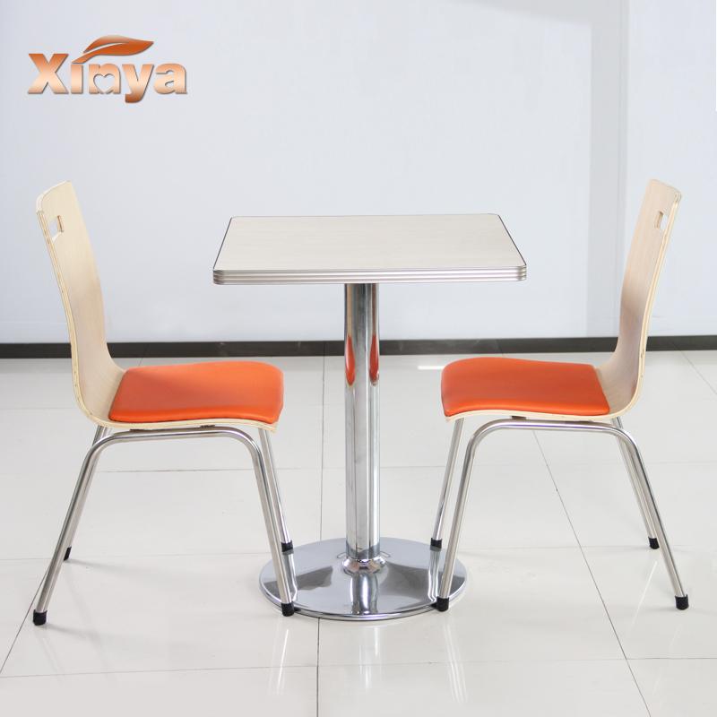 鑫馫雅分体餐桌椅组合两人位不锈钢餐台肯德基餐桌椅快餐店餐桌椅