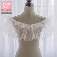 Beauty is just too super thin lace wedding dress bride summer shawl Pearl one shoulder wedding accessories P0085
